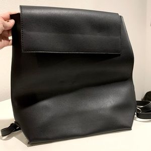Solstice Black Faux Leather Backpack